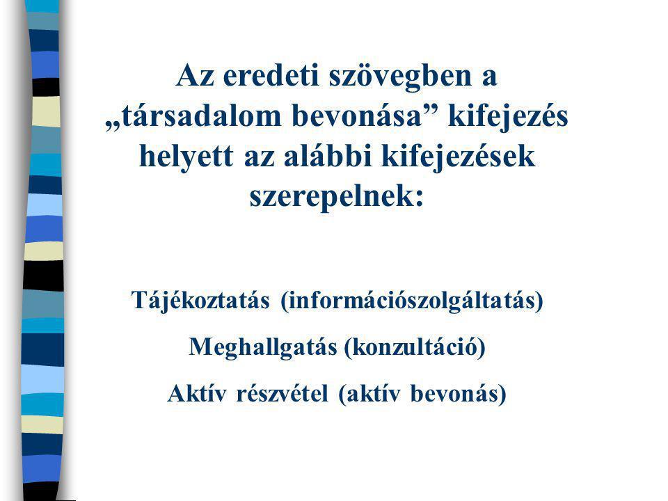 """Az eredeti szövegben a """"társadalom bevonása"""" kifejezés helyett az alábbi kifejezések szerepelnek: Tájékoztatás (információszolgáltatás) Meghallgatás ("""