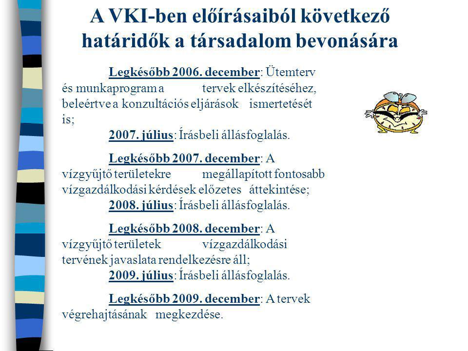 A VKI-ben előírásaiból következő határidők a társadalom bevonására Legkésőbb 2006. december: Ütemterv és munkaprogram a tervek elkészítéséhez, beleért