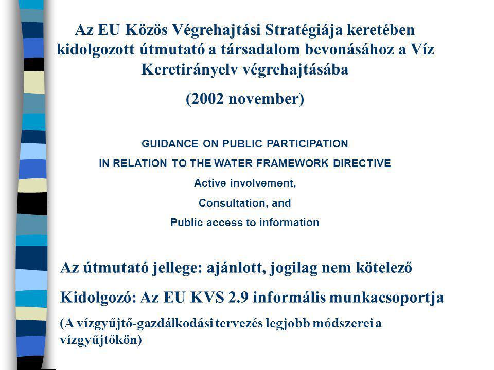 Az EU Közös Végrehajtási Stratégiája keretében kidolgozott útmutató a társadalom bevonásához a Víz Keretirányelv végrehajtásába (2002 november) GUIDAN