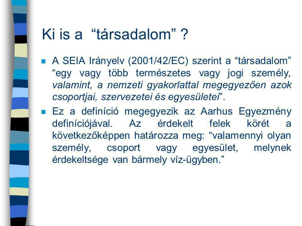 """Ki is a """"társadalom"""" ? n A SEIA Irányelv (2001/42/EC) szerint a """"társadalom"""" """"egy vagy több természetes vagy jogi személy, valamint, a nemzeti gyakorl"""