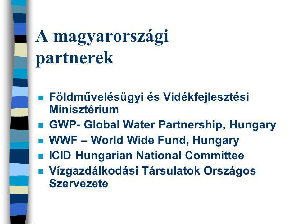 A magyarországi partnerek n Földművelésügyi és Vidékfejlesztési Minisztérium n GWP- Global Water Partnership, Hungary n WWF – World Wide Fund, Hungary