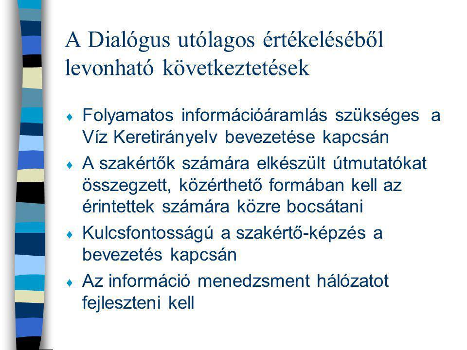 A Dialógus utólagos értékeléséből levonható következtetések  Folyamatos információáramlás szükséges a Víz Keretirányelv bevezetése kapcsán  A szakér