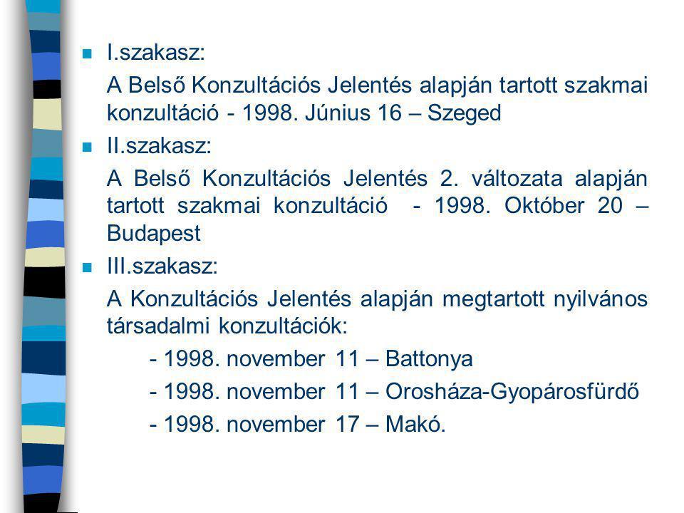 n I.szakasz: A Belső Konzultációs Jelentés alapján tartott szakmai konzultáció - 1998. Június 16 – Szeged n II.szakasz: A Belső Konzultációs Jelentés