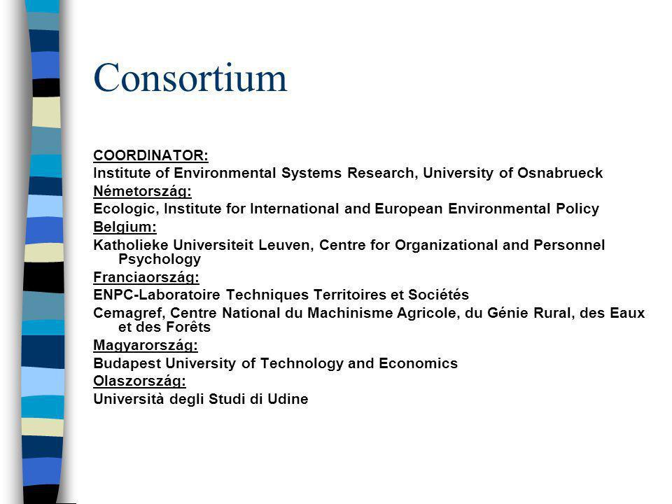 Consortium COORDINATOR: Institute of Environmental Systems Research, University of Osnabrueck Németország: Ecologic, Institute for International and E