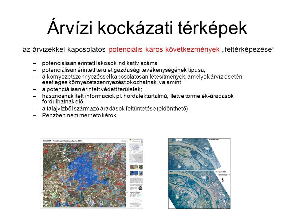 Árvízi kockázati térképek –potenciálisan érintett lakosok indikatív száma; –potenciálisan érintett terület gazdasági tevékenységének típusa; –a környezetszennyezéssel kapcsolatosan létesítmények, amelyek árvíz esetén esetleges környezetszennyezést okozhatnak, valamint –a potenciálisan érintett védett területek; –hasznosnak ítélt információk pl.
