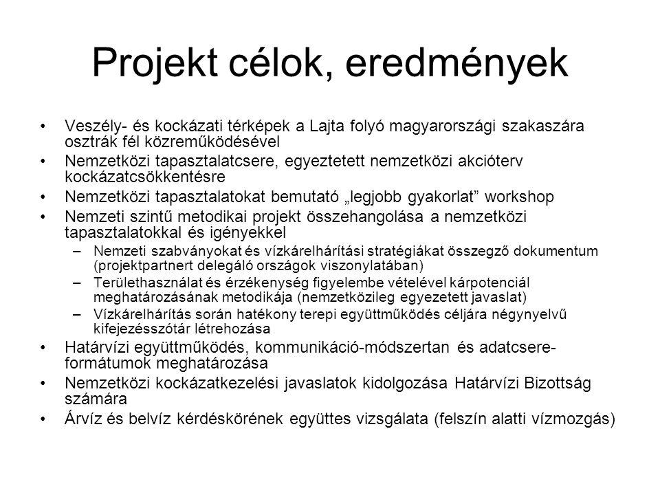 """Projekt célok, eredmények Veszély- és kockázati térképek a Lajta folyó magyarországi szakaszára osztrák fél közreműködésével Nemzetközi tapasztalatcsere, egyeztetett nemzetközi akcióterv kockázatcsökkentésre Nemzetközi tapasztalatokat bemutató """"legjobb gyakorlat workshop Nemzeti szintű metodikai projekt összehangolása a nemzetközi tapasztalatokkal és igényekkel –Nemzeti szabványokat és vízkárelhárítási stratégiákat összegző dokumentum (projektpartnert delegáló országok viszonylatában) –Területhasználat és érzékenység figyelembe vételével kárpotenciál meghatározásának metodikája (nemzetközileg egyezetett javaslat) –Vízkárelhárítás során hatékony terepi együttműködés céljára négynyelvű kifejezésszótár létrehozása Határvízi együttműködés, kommunikáció-módszertan és adatcsere- formátumok meghatározása Nemzetközi kockázatkezelési javaslatok kidolgozása Határvízi Bizottság számára Árvíz és belvíz kérdéskörének együttes vizsgálata (felszín alatti vízmozgás)"""