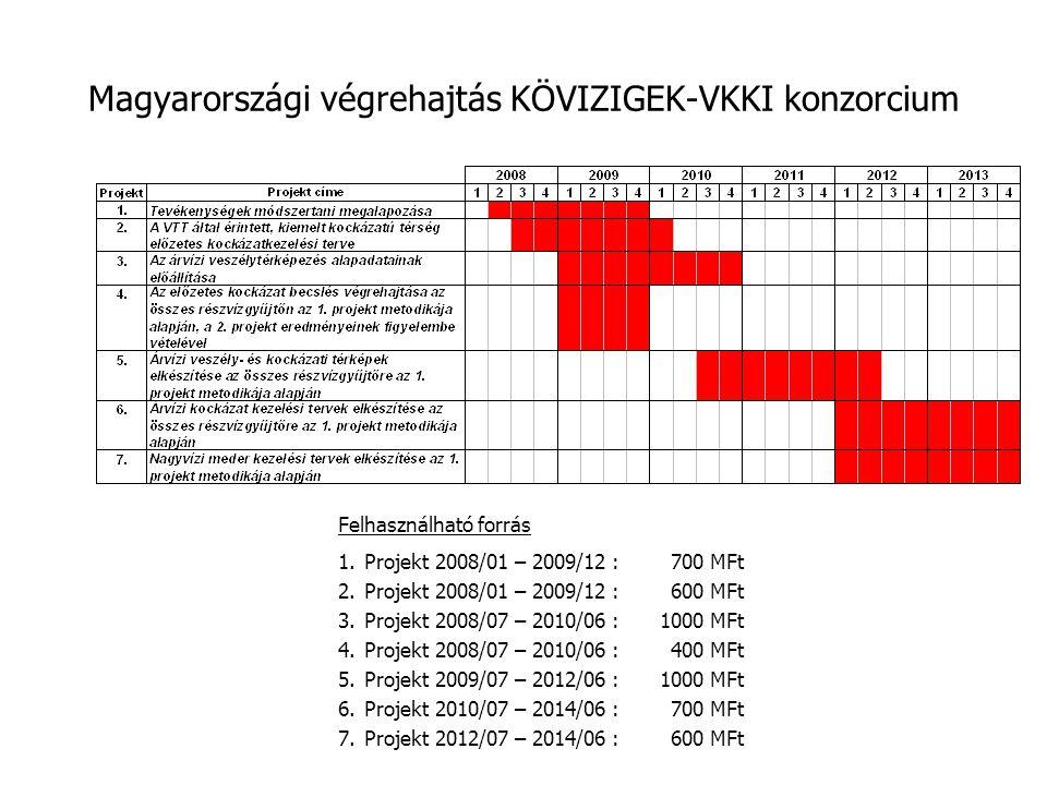 Magyarországi végrehajtás KÖVIZIGEK-VKKI konzorcium Felhasználható forrás 1.Projekt 2008/01 – 2009/12 : 700 MFt 2.Projekt 2008/01 – 2009/12 : 600 MFt 3.Projekt 2008/07 – 2010/06 : 1000 MFt 4.Projekt 2008/07 – 2010/06 : 400 MFt 5.Projekt 2009/07 – 2012/06 : 1000 MFt 6.Projekt 2010/07 – 2014/06 : 700 MFt 7.Projekt 2012/07 – 2014/06 : 600 MFt