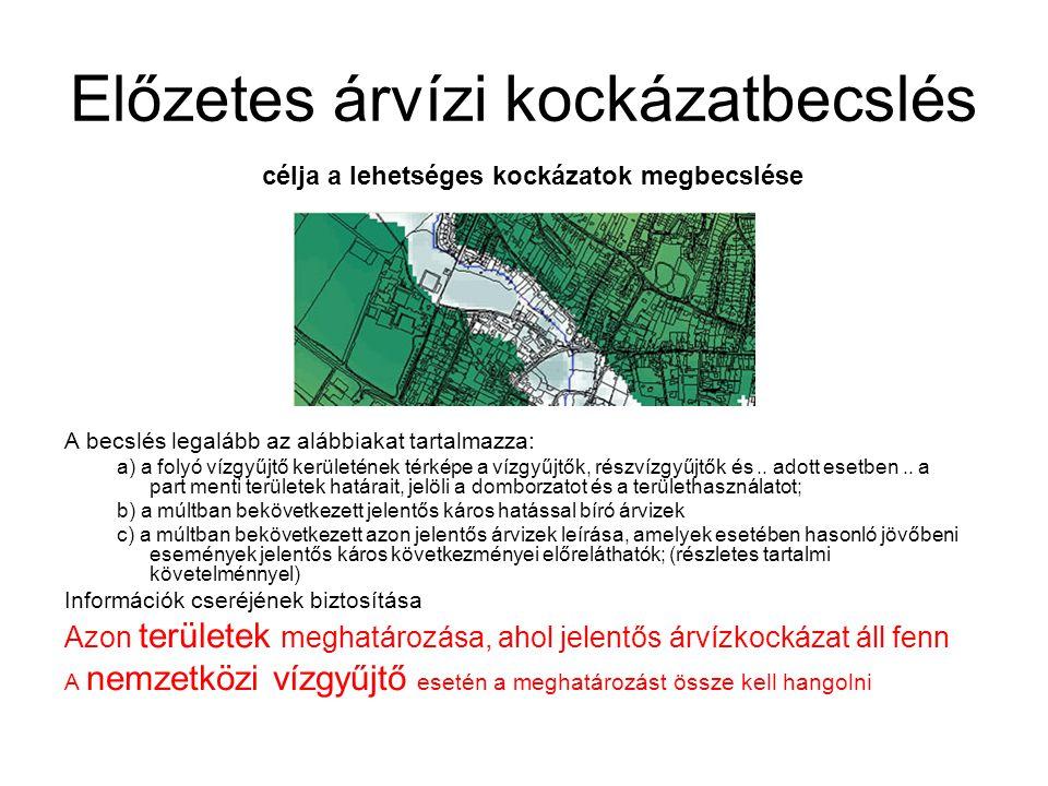 Előzetes árvízi kockázatbecslés A becslés legalább az alábbiakat tartalmazza: a) a folyó vízgyűjtő kerületének térképe a vízgyűjtők, részvízgyűjtők és..