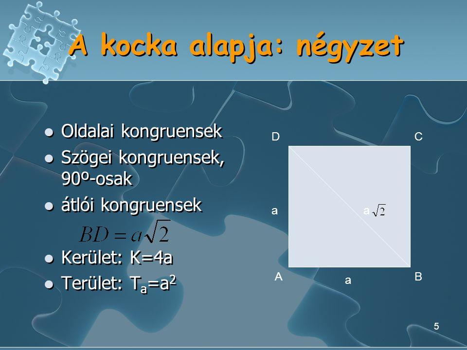 5 A kocka alapja: négyzet Oldalai kongruensek Szögei kongruensek, 90º-osak átlói kongruensek Kerület: K=4a Terület: T a =a 2 Oldalai kongruensek Szögei kongruensek, 90º-osak átlói kongruensek Kerület: K=4a Terület: T a =a 2 AB DC aa a