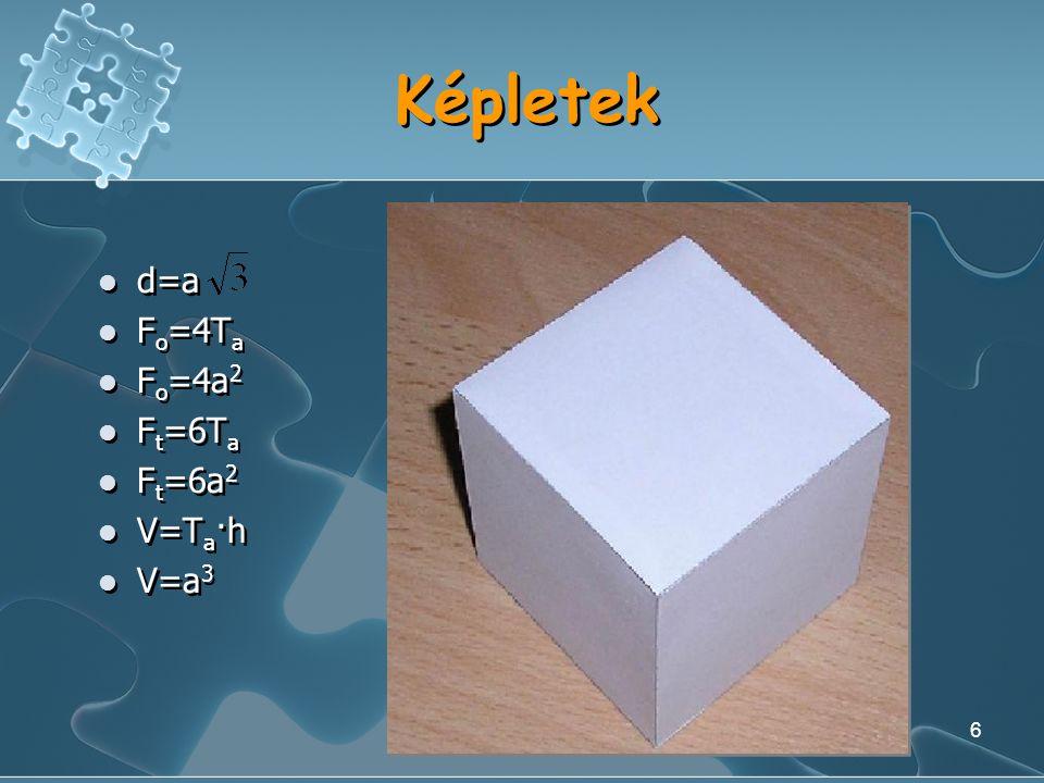 5 A kocka alapja: négyzet Oldalai kongruensek Szögei kongruensek, 90º-osak átlói kongruensek Kerület: K=4a Terület: T a =a 2 Oldalai kongruensek Szöge