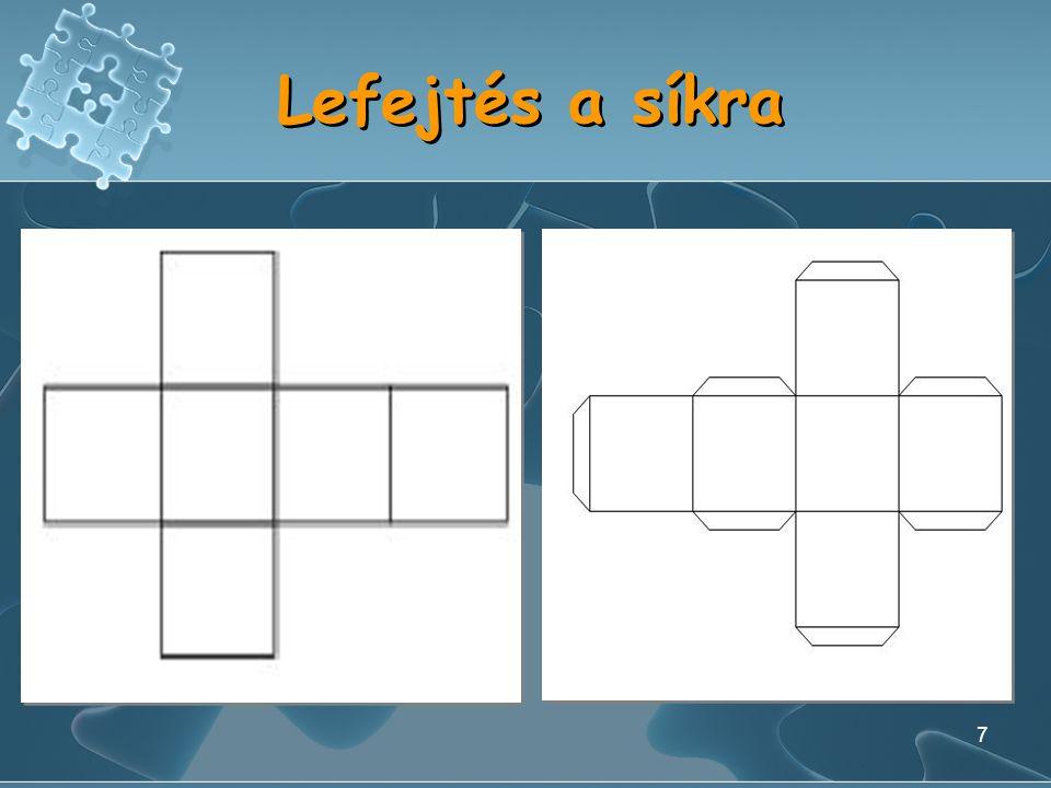 6 Képletek d=a F o =4T a F o =4a 2 F t =6T a F t =6a 2 V=T a ·h V=a 3 d=a F o =4T a F o =4a 2 F t =6T a F t =6a 2 V=T a ·h V=a 3