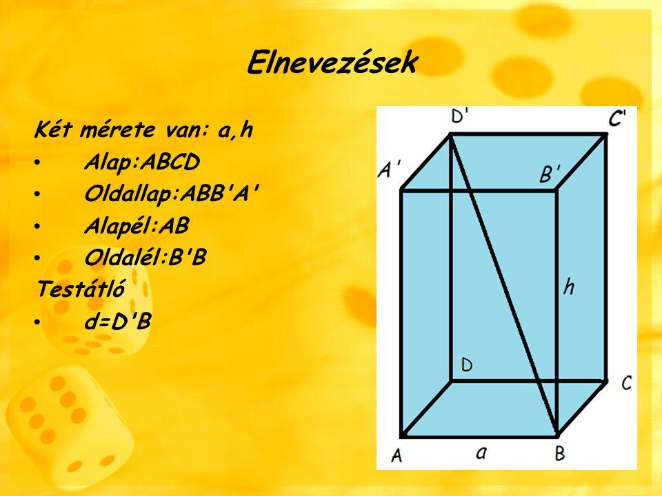 5 A hasáb alapja:négyzet Oldalai,átlói és szögei kongruensek A szögei 90º-ak Átló:DB=a√2 cm Kerület: K=4a Terület: T a =a 2