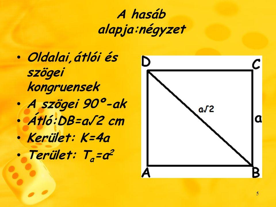 6 Képletek Ta=a² Toldallap=a*h Fo=4a*h Ft=4a*h+2a² V=a²*h
