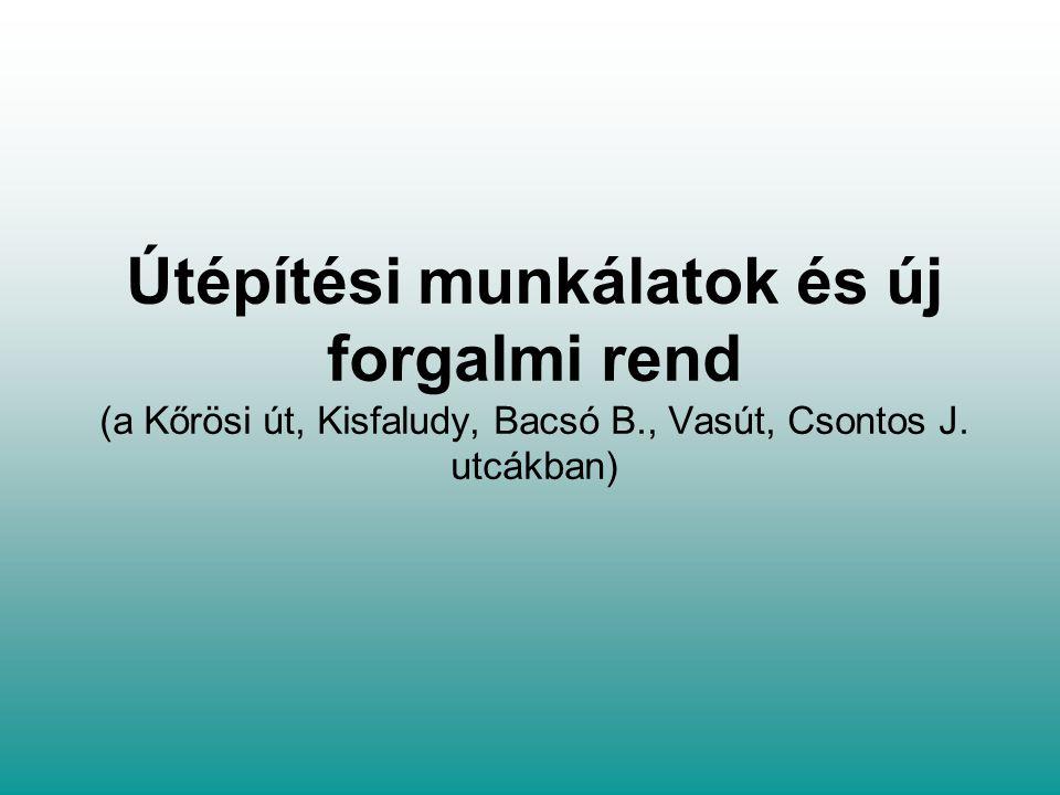 Útépítési munkálatok és új forgalmi rend (a Kőrösi út, Kisfaludy, Bacsó B., Vasút, Csontos J.