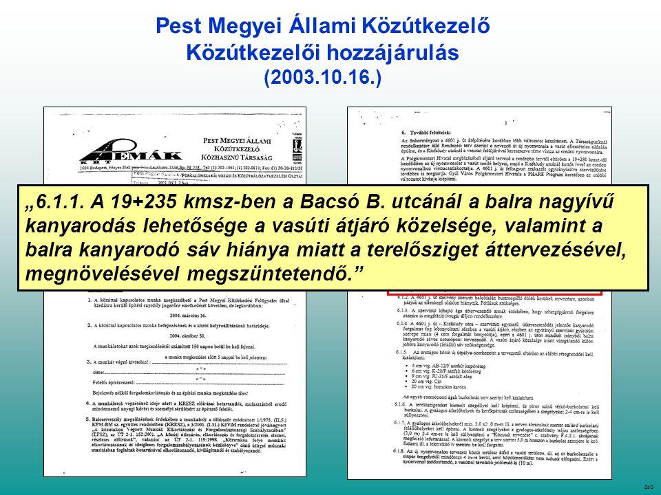 """Pest Megyei Állami Közútkezelő Közútkezelői hozzájárulás (2003.10.16.) ZsG """"6.1.1."""