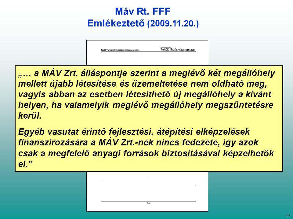 """Máv Rt. FFF Emlékeztető (2009.11.20.) ZsG """"… a MÁV Zrt."""