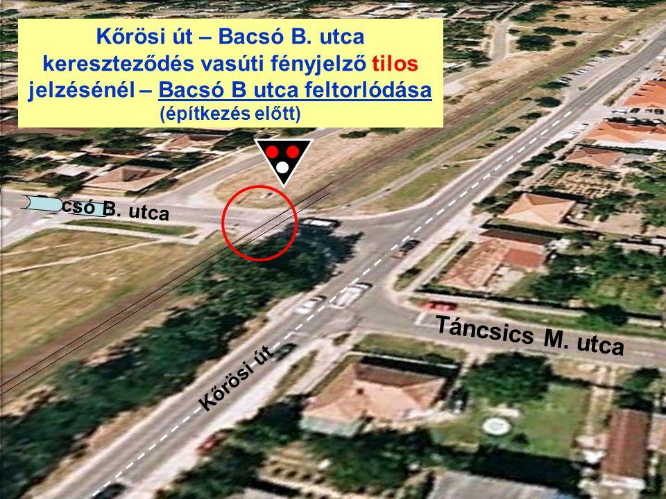 Kőrösi út – Bacsó B. utca kereszteződés vasúti fényjelző tilos jelzésénél – Bacsó B utca feltorlódása (építkezés előtt) Kőrösi út Táncsics M. utca Bac