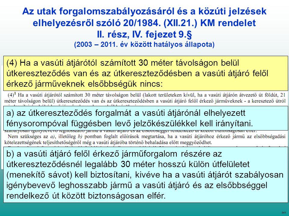 Az utak forgalomszabályozásáról és a közúti jelzések elhelyezésről szóló 20/1984.