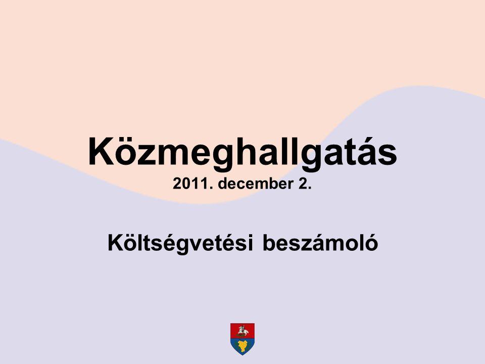 Közmeghallgatás 2011. december 2. Költségvetési beszámoló