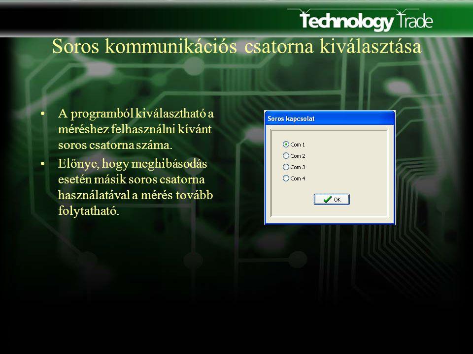Soros kommunikációs csatorna kiválasztása A programból kiválasztható a méréshez felhasználni kívánt soros csatorna száma.