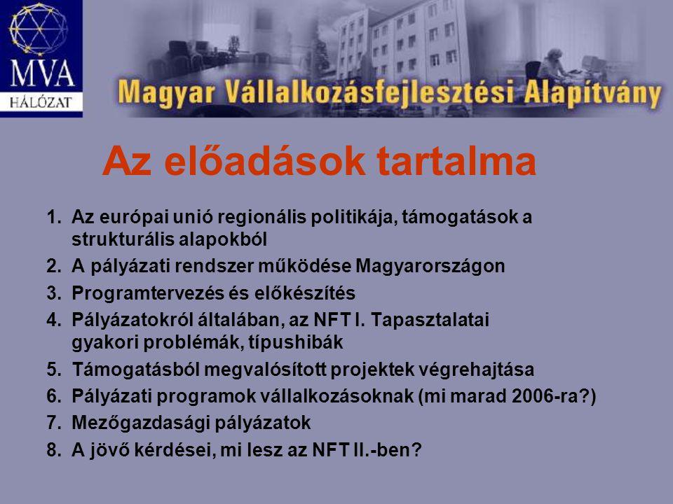 Az előadások tartalma 1.Az európai unió regionális politikája, támogatások a strukturális alapokból 2.A pályázati rendszer működése Magyarországon 3.Programtervezés és előkészítés 4.Pályázatokról általában, az NFT I.
