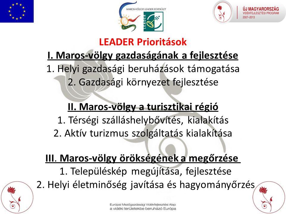 I. Maros-völgy gazdaságának a fejlesztése 1. Helyi gazdasági beruházások támogatása 2.