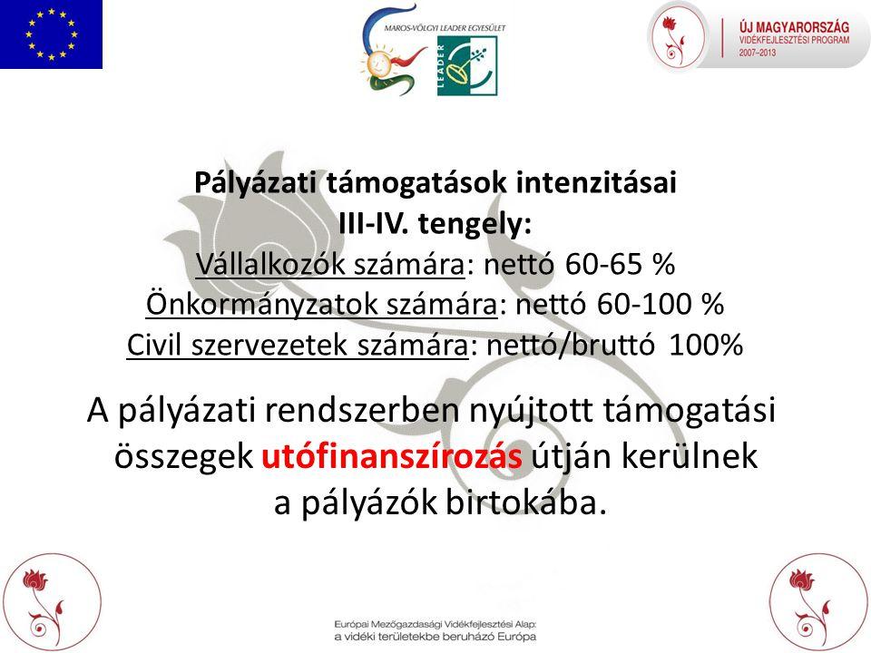 Pályázati támogatások intenzitásai III-IV.