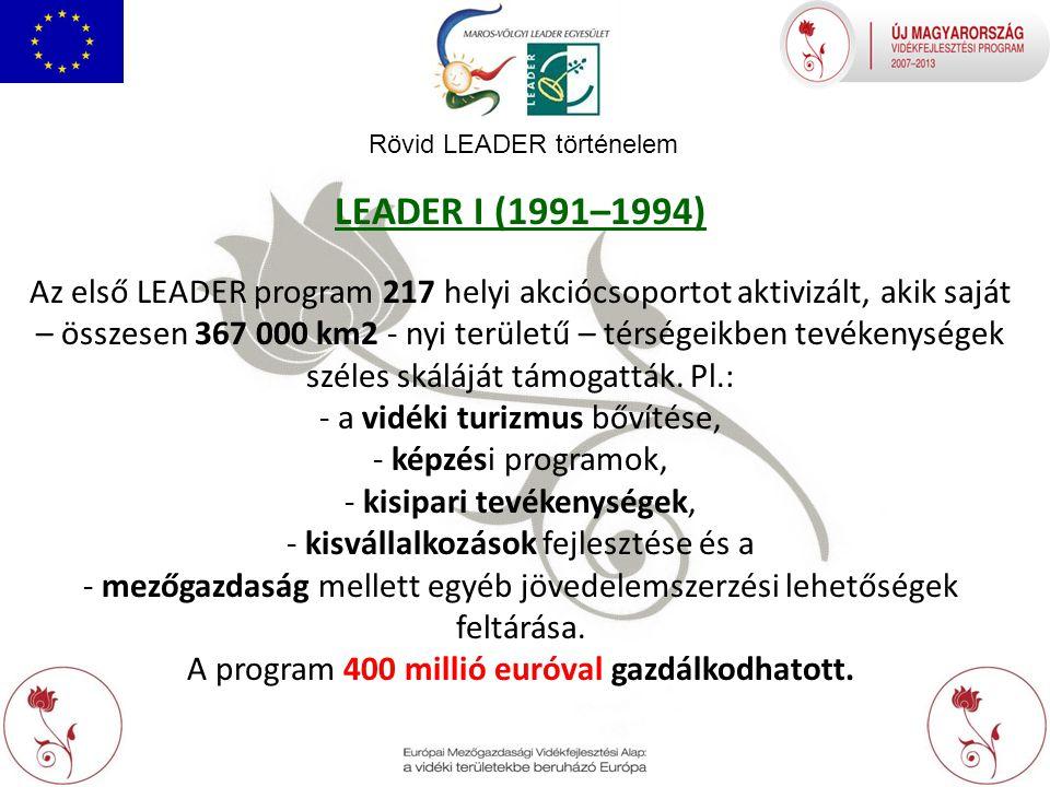 Rövid LEADER történelem LEADER I (1991–1994) Az első LEADER program 217 helyi akciócsoportot aktivizált, akik saját – összesen 367 000 km2 - nyi területű – térségeikben tevékenységek széles skáláját támogatták.