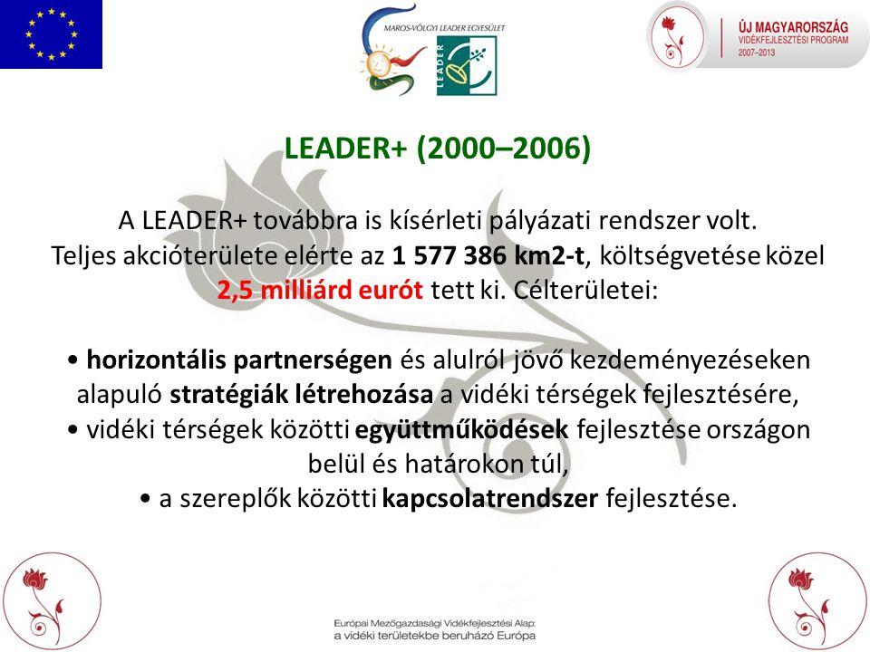 LEADER+ (2000–2006) A LEADER+ továbbra is kísérleti pályázati rendszer volt.