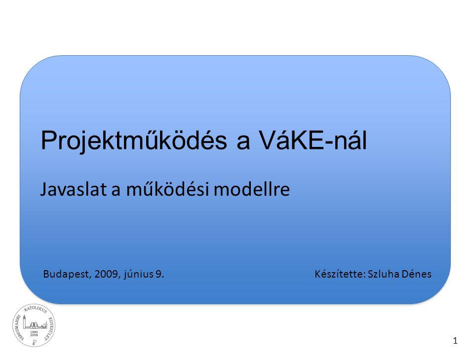 1 Projektműködés a VáKE-nál Javaslat a működési modellre Budapest, 2009, június 9. Készítette: Szluha Dénes