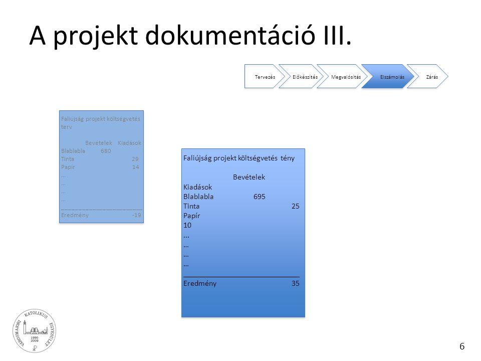 6 A projekt dokumentáció III. TervezésElőkészítésMegvalósításElszámolásZárás Faliújság projekt költségvetés terv Bevételek Kiadások Blablabla 680 Tint