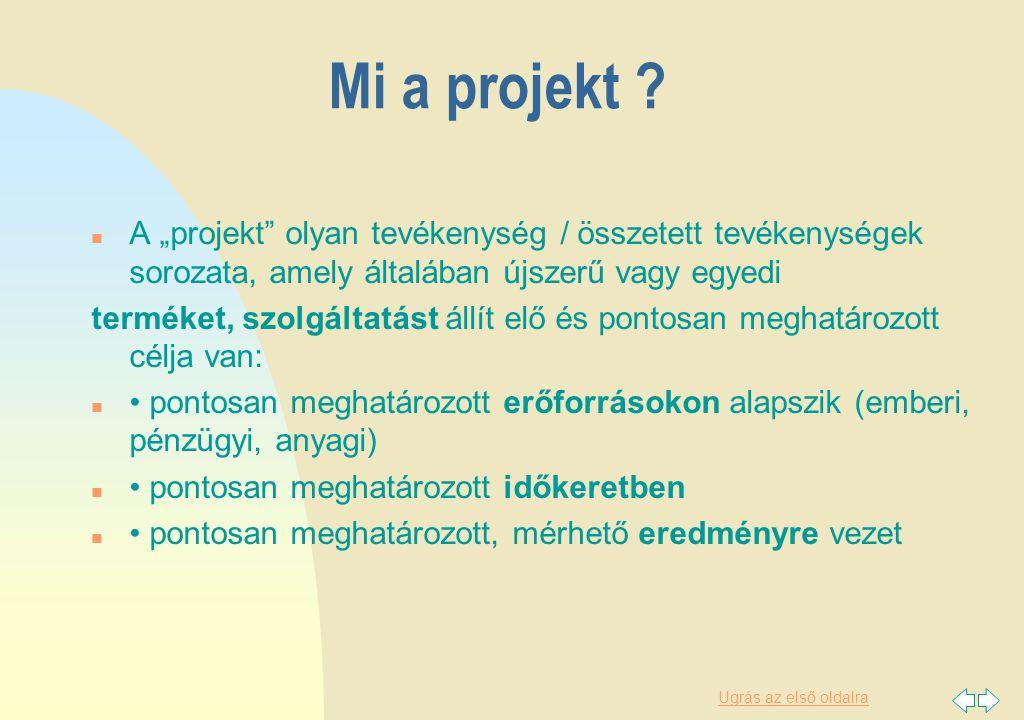 Ugrás az első oldalra Eredete: n A magyar nyelv az angol project kifejezést vette át.