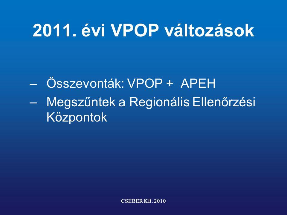 2011. évi VPOP változások –Összevonták: VPOP + APEH –Megszűntek a Regionális Ellenőrzési Központok CSEBER Kft. 2010