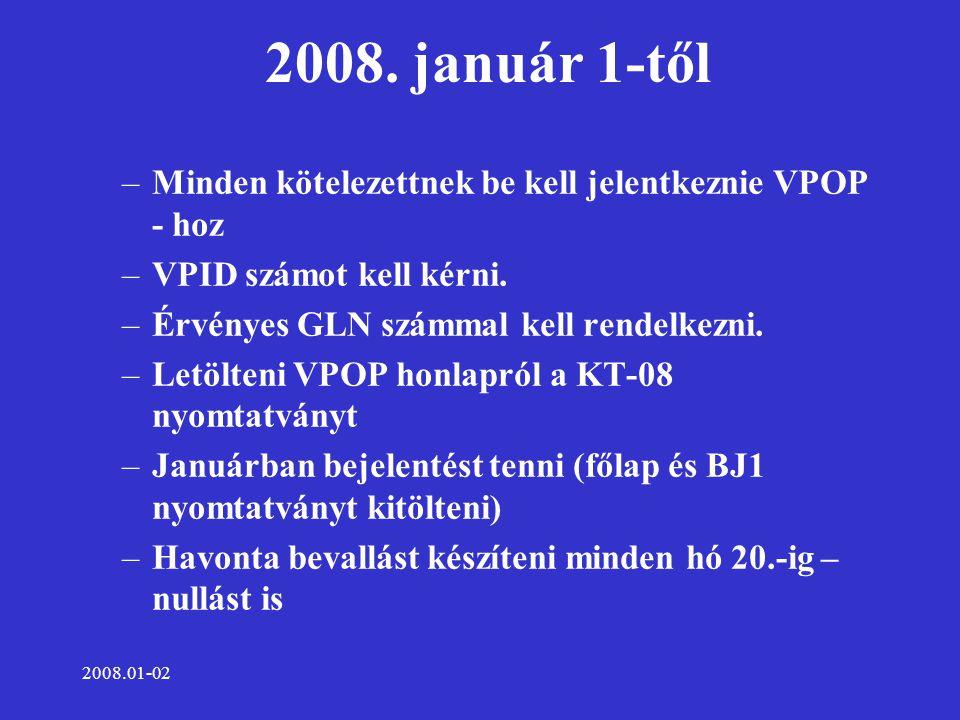 2008.01-02 2008. január 1-től –Minden kötelezettnek be kell jelentkeznie VPOP - hoz –VPID számot kell kérni. –Érvényes GLN számmal kell rendelkezni. –