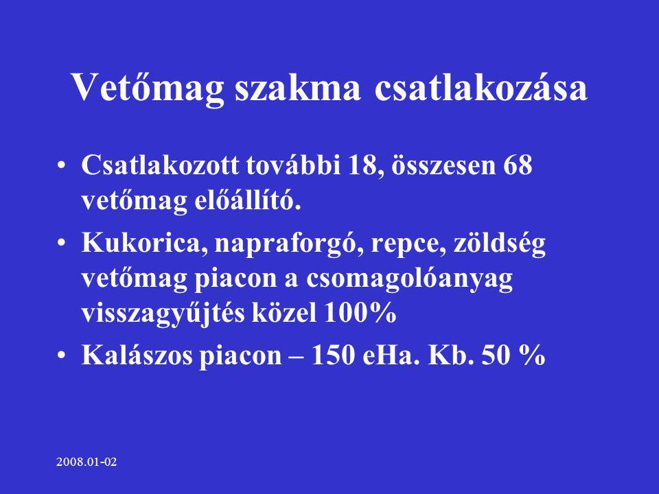 2008.01-02 Vetőmag kibocsátás 2007-2008 tonna A Cseber Kht.