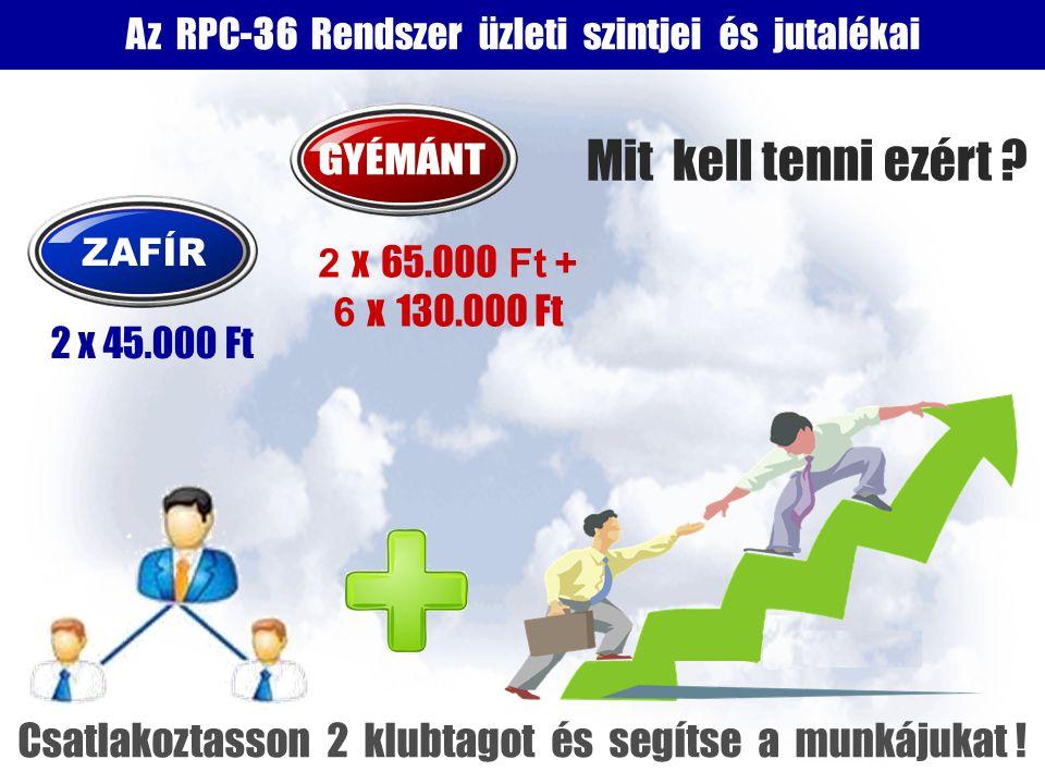 Az RPC-36 Rendszer üzleti szintjei és jutalékai 2 x 65.000 Ft + 6 x 130.000 Ft 2 x 45.000 Ft Mit kell tenni ezért .