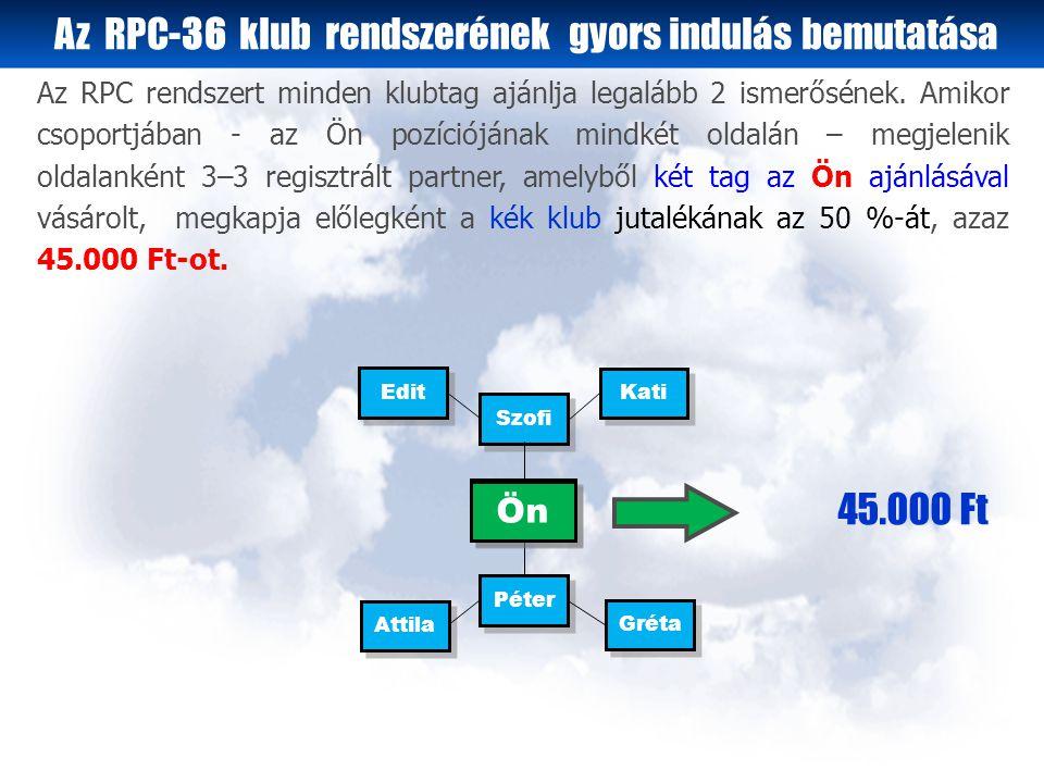 Az RPC-36 klub rendszerének gyors indulás bemutatása Attila Szofi Péter Gréta Edit Kati Ön 45.000 Ft Az RPC rendszert minden klubtag ajánlja legalább 2 ismerősének.