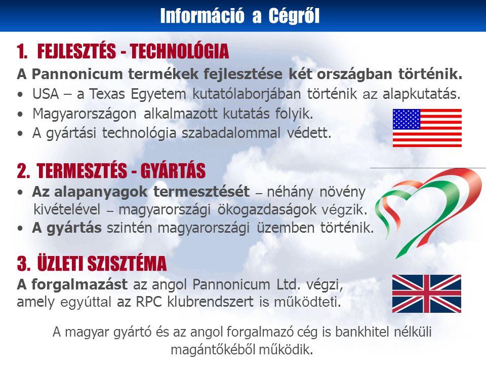 1. FEJLESZTÉS - TECHNOLÓGIA A Pannonicum termékek fejlesztése két országban történik.