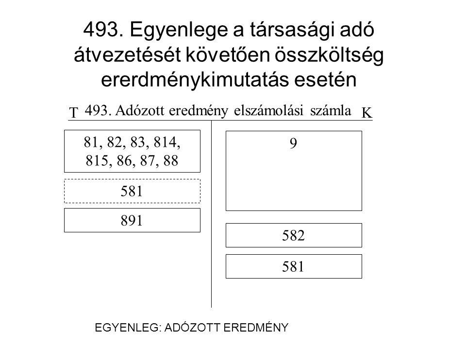 493.Egyenlege a társasági adó átvezetését követően forgalmi ererdménykimutatás esetén TK 493.