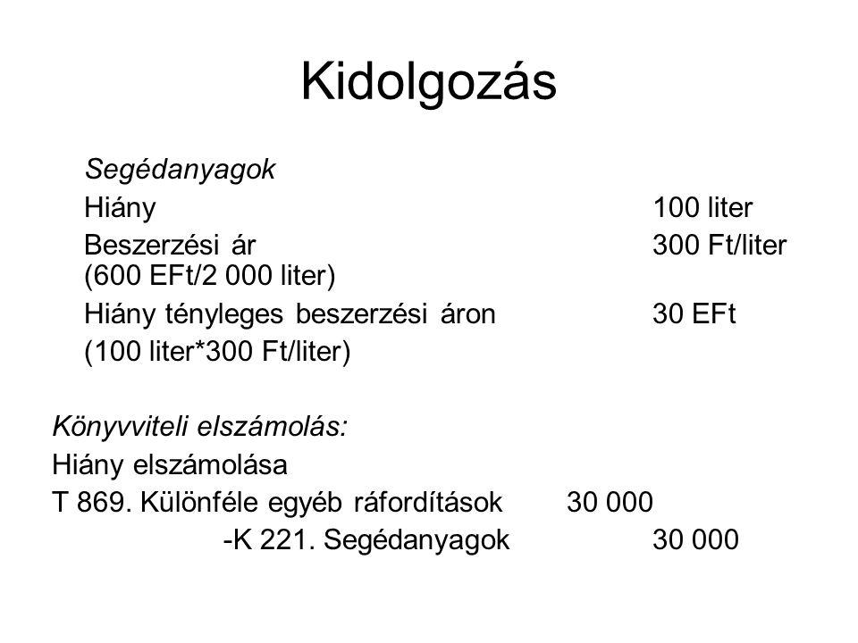 Kidolgozás Késztermékek Hiány10 db Elszámolóár (tervezett önköltség)25 000 Ft/db (10 000 EFt/400 db) Készletérték különbözeti pótlékkulcs+ 4 % ((400 EFt/10 000 EFt)*100 %) Hiány elszámolóáron250 EFt (10 db*25 EFt/db) Hiányra jutó készletérték különbözet+ 10 EFt (250 EFt*0,04) Könyvviteli elszámolás: 1.1 Hiány elszámolóáron ráfordításként T 869.