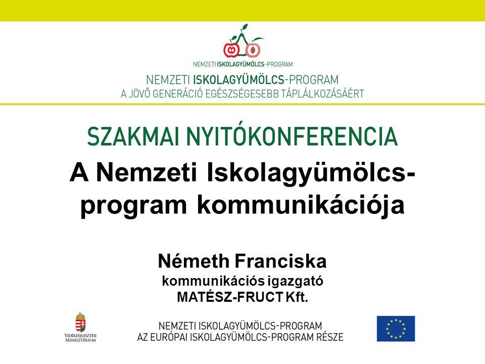 A Nemzeti Iskolagyümölcs- program kommunikációja Németh Franciska kommunikációs igazgató MATÉSZ-FRUCT Kft.