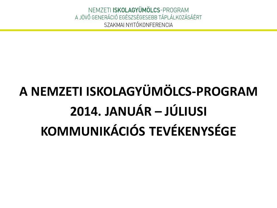 A NEMZETI ISKOLAGYÜMÖLCS-PROGRAM 2014. JANUÁR – JÚLIUSI KOMMUNIKÁCIÓS TEVÉKENYSÉGE