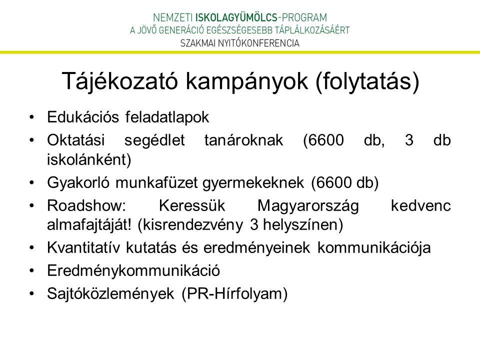 Tájékozató kampányok (folytatás) Edukációs feladatlapok Oktatási segédlet tanároknak (6600 db, 3 db iskolánként) Gyakorló munkafüzet gyermekeknek (660