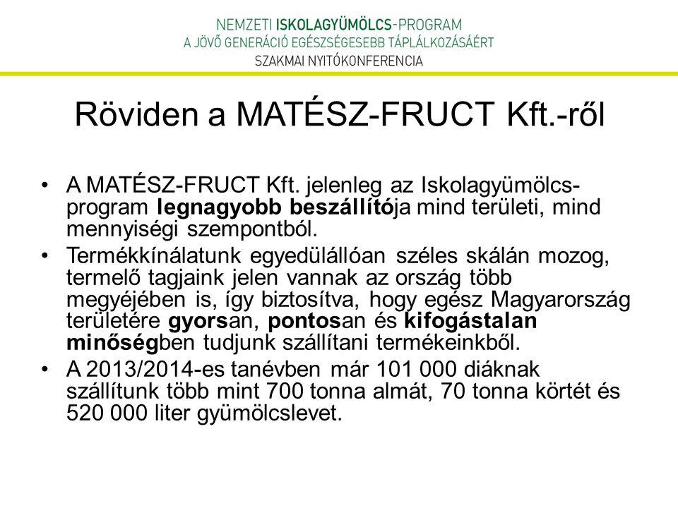 Röviden a MATÉSZ-FRUCT Kft.-ről A MATÉSZ-FRUCT Kft. jelenleg az Iskolagyümölcs- program legnagyobb beszállítója mind területi, mind mennyiségi szempon