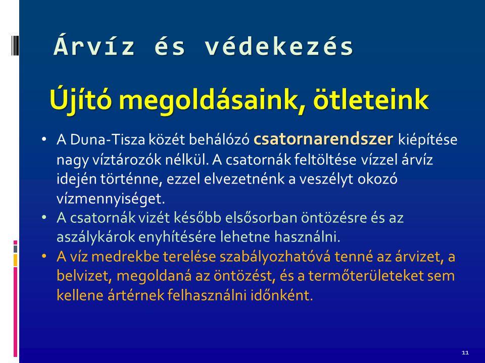 Árvíz és védekezés 11 Újító megoldásaink, ötleteink csatornarendszer A Duna-Tisza közét behálózó csatornarendszer kiépítése nagy víztározók nélkül.