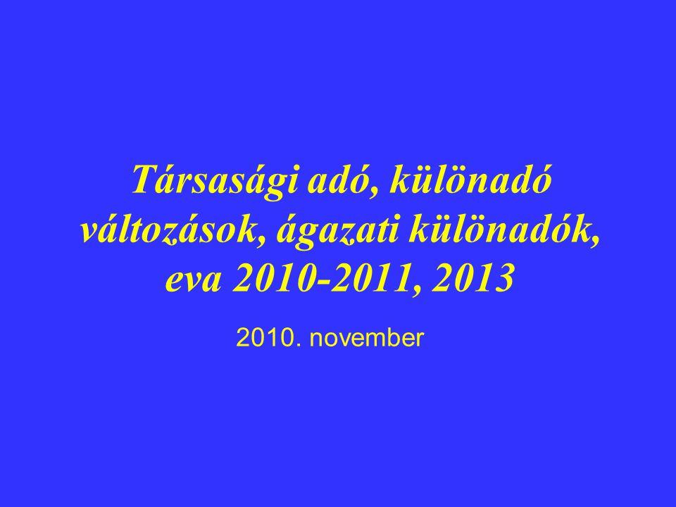 Társasági adó, különadó változások, ágazati különadók, eva 2010-2011, 2013 2010. november
