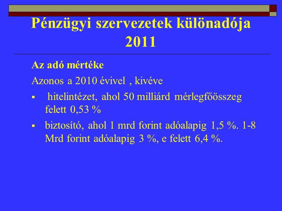 Pénzügyi szervezetek különadója 2011 Az adó mértéke Azonos a 2010 évivel, kivéve  hitelintézet, ahol 50 milliárd mérlegfőösszeg felett 0,53 %  biztosító, ahol 1 mrd forint adóalapig 1,5 %.