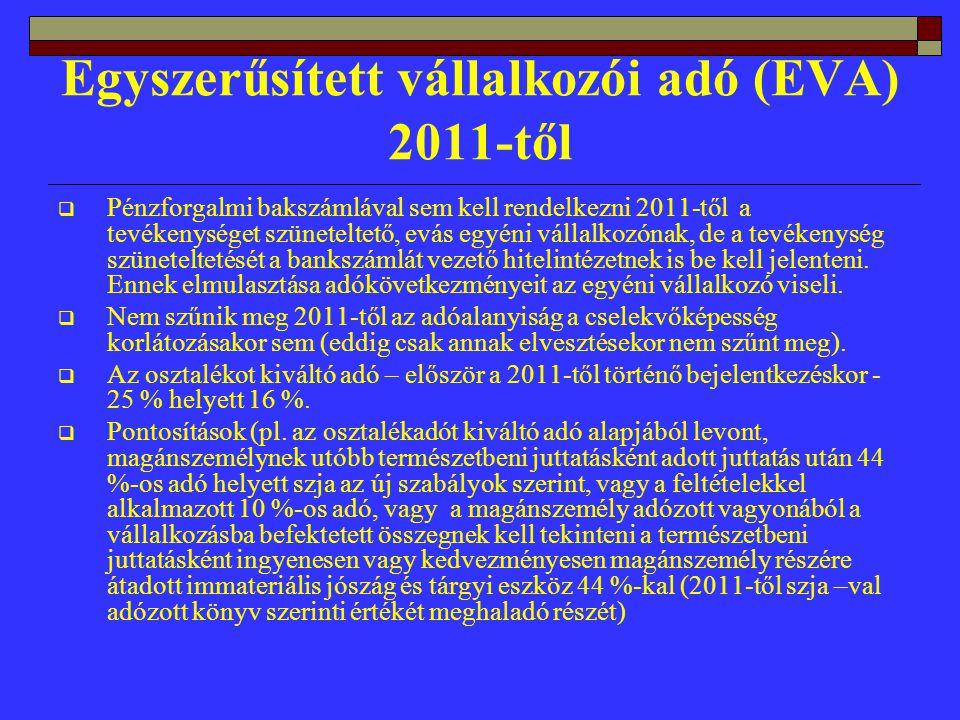 Egyszerűsített vállalkozói adó (EVA) 2011-től  Pénzforgalmi bakszámlával sem kell rendelkezni 2011-től a tevékenységet szüneteltető, evás egyéni vállalkozónak, de a tevékenység szüneteltetését a bankszámlát vezető hitelintézetnek is be kell jelenteni.