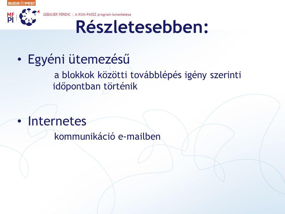 Részletesebben: Egyéni ütemezésű a blokkok közötti továbblépés igény szerinti időpontban történik Internetes kommunikáció e-mailben GEBAUER FERENC | A KOM-PASSZ program ismertetése