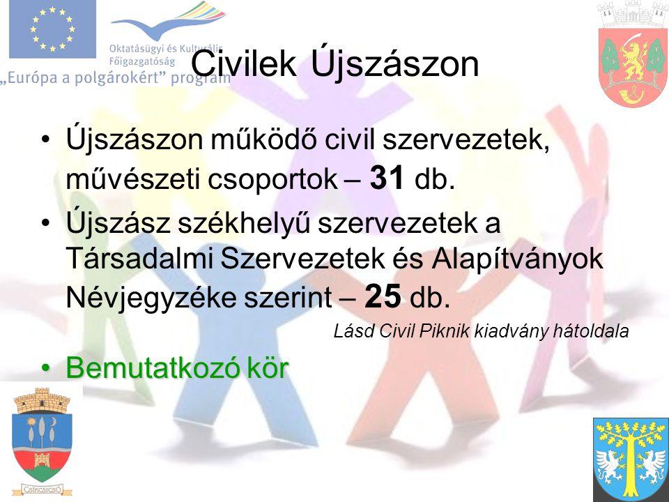 Civilek Újszászon Újszászon működő civil szervezetek, művészeti csoportok – 31 db.